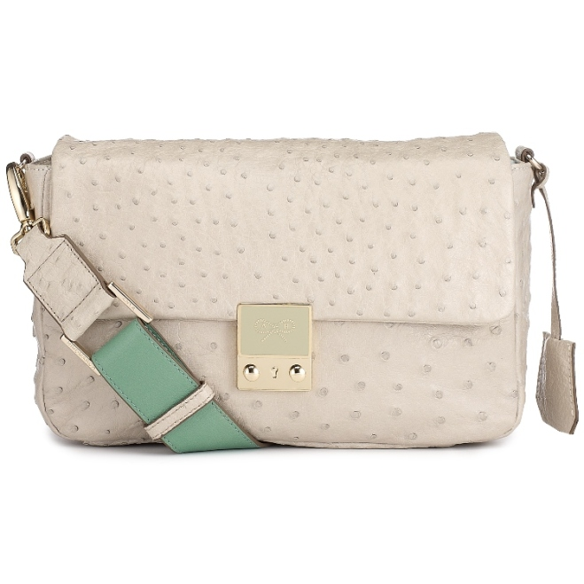 Carker Crossbody Ostrich Guilloche lock grey