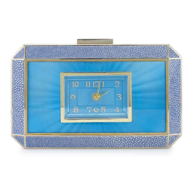 Duke Clock Clutch Guilloche Shagreen Bluebell